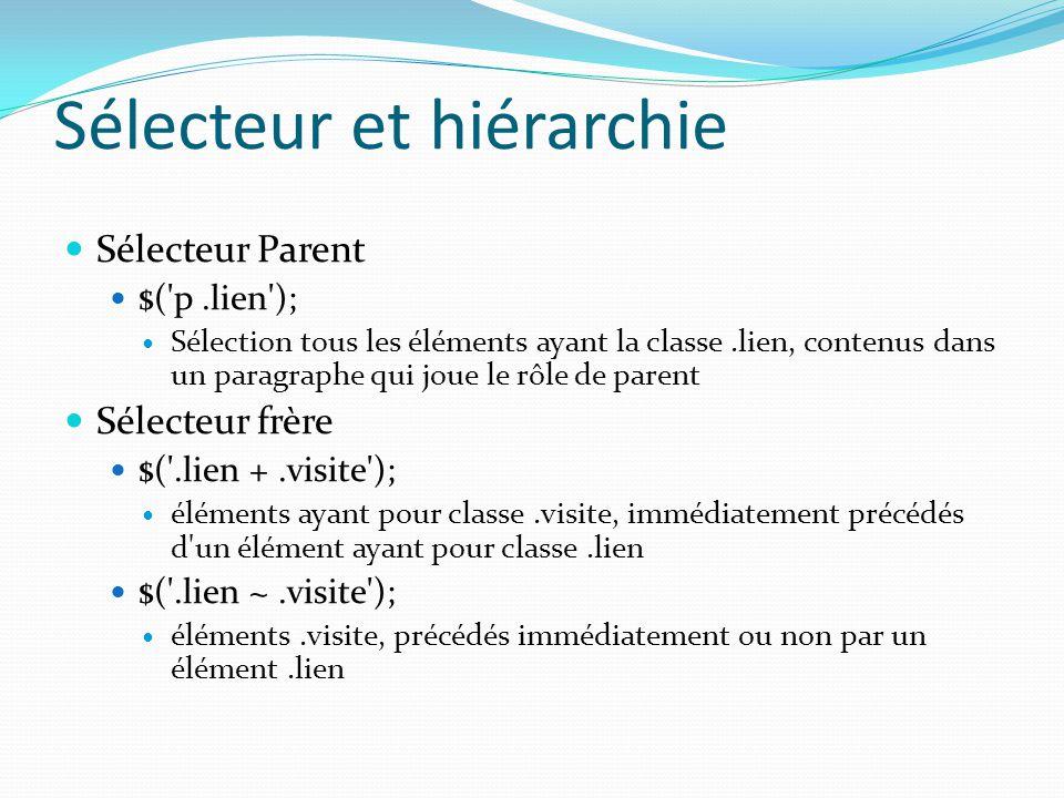 Sélecteur et hiérarchie Sélecteur Parent $('p.lien'); Sélection tous les éléments ayant la classe.lien, contenus dans un paragraphe qui joue le rôle d