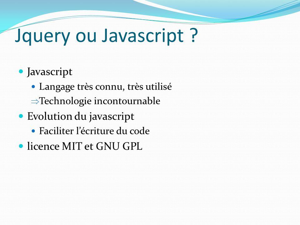 Jquery ou Javascript ? Javascript Langage très connu, très utilisé  Technologie incontournable Evolution du javascript Faciliter l'écriture du code l