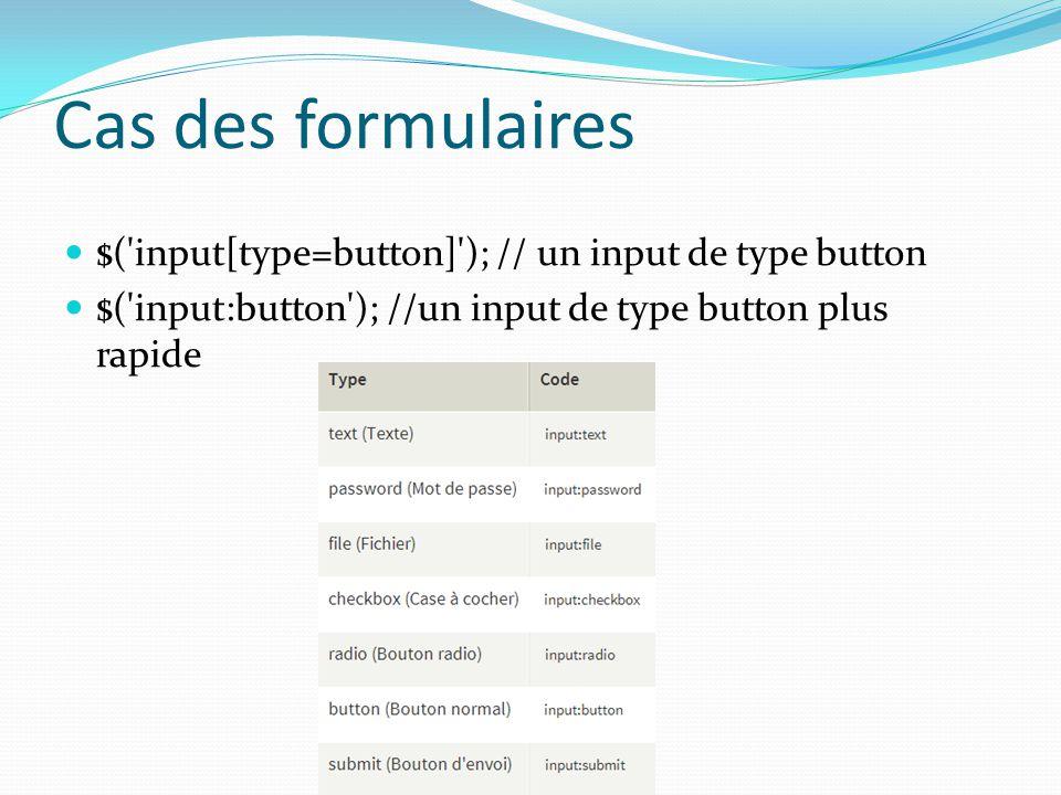 Cas des formulaires $('input[type=button]'); // un input de type button $('input:button'); //un input de type button plus rapide