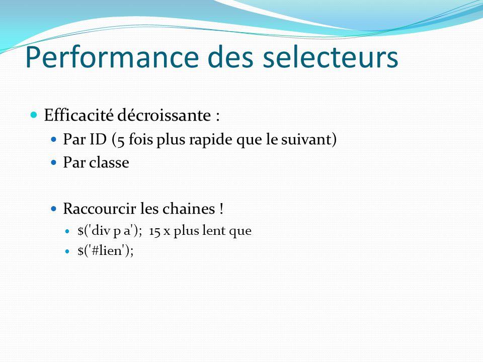Performance des selecteurs Efficacité décroissante : Par ID (5 fois plus rapide que le suivant) Par classe Raccourcir les chaines ! $('div p a'); 15 x