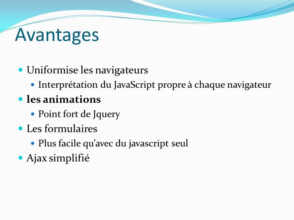 Avantages Uniformise les navigateurs Interprétation du JavaScript propre à chaque navigateur les animations Point fort de Jquery Les formulaires Plus
