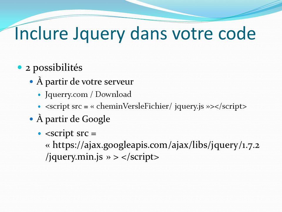 Inclure Jquery sur votre serveur Avantages Développement Vous pouvez développer sans internet (train, coupure réseau…) Inconvénient Déploiement Surcharge du serveur, il travaille beaucoup plus