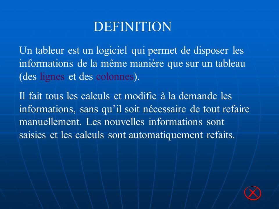 DEFINITION Un tableur est un logiciel qui permet de disposer les informations de la même manière que sur un tableau (des lignes et des colonnes).