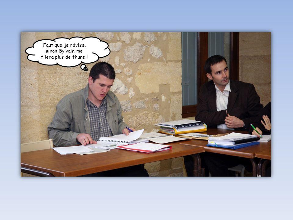 Faut que je révise, sinon Sylvain me filera plus de thune !