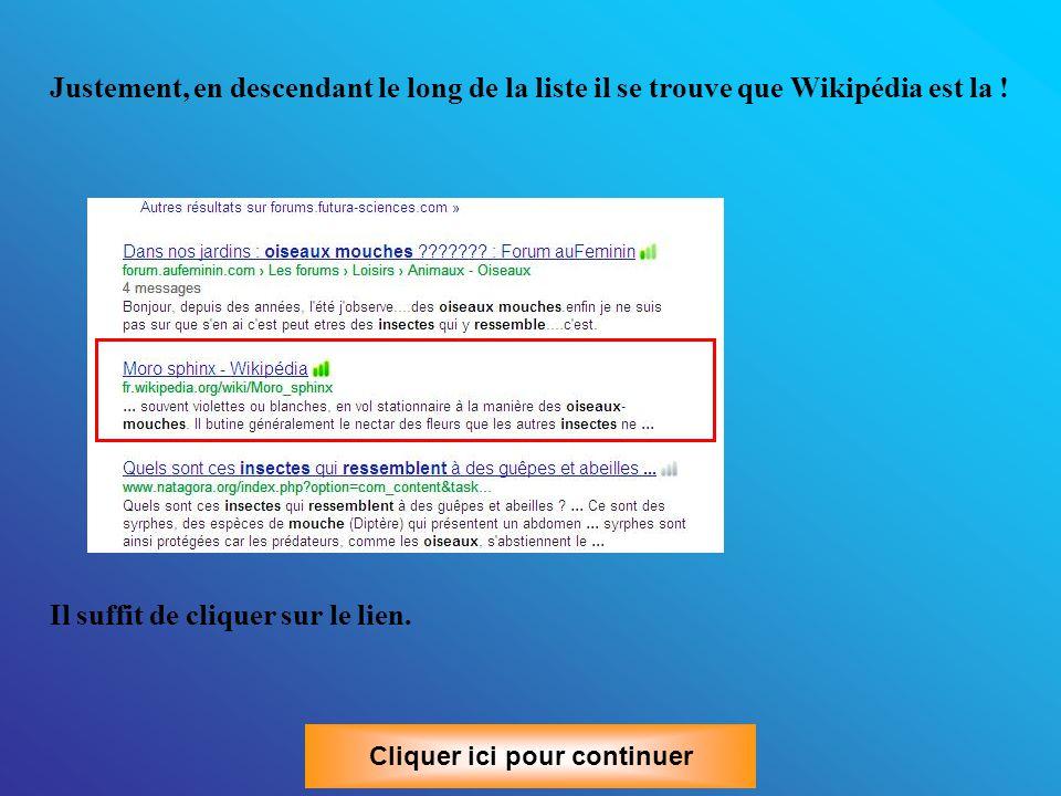Je veux en savoir plus : Il faut savoir qu'il existe sur Internet une encyclopédie Universelle qui s'appelle Wikipédia. Wikipédia est un projet d'ency