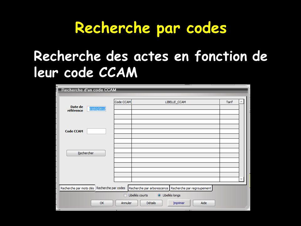 Recherche par codes  Recherche des actes en fonction de leur code CCAM