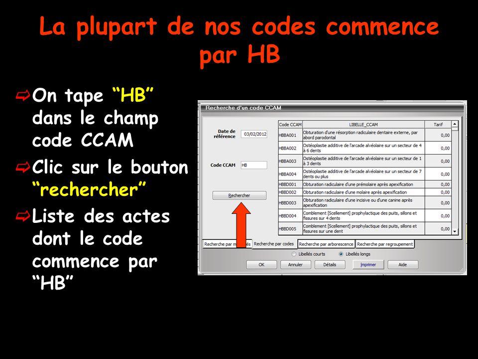 """La plupart de nos codes commence par HB  On tape """"HB"""" dans le champ code CCAM  Clic sur le bouton """"rechercher""""  Liste des actes dont le code commen"""