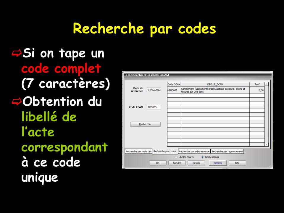 Recherche par codes  Si on tape un code complet (7 caractères)  Obtention du libellé de l'acte correspondant à ce code unique