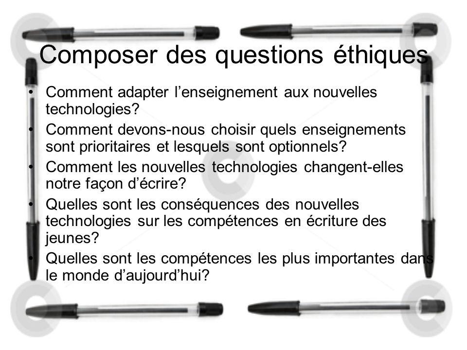 Composer des questions éthiques Comment adapter l'enseignement aux nouvelles technologies.