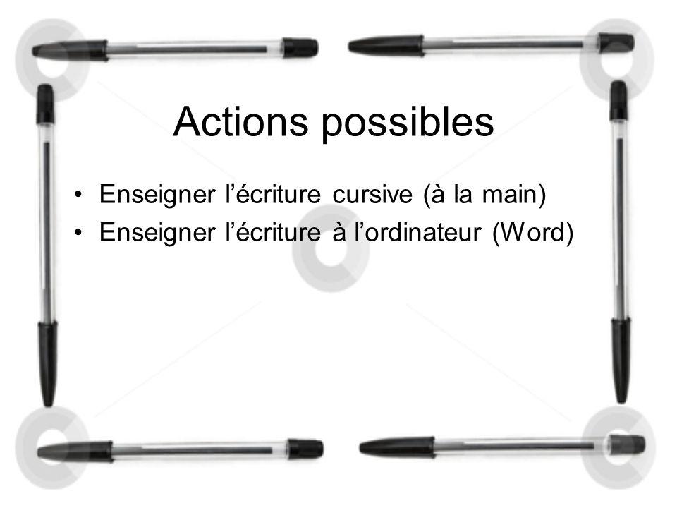 Actions possibles Enseigner l'écriture cursive (à la main) Enseigner l'écriture à l'ordinateur (Word)