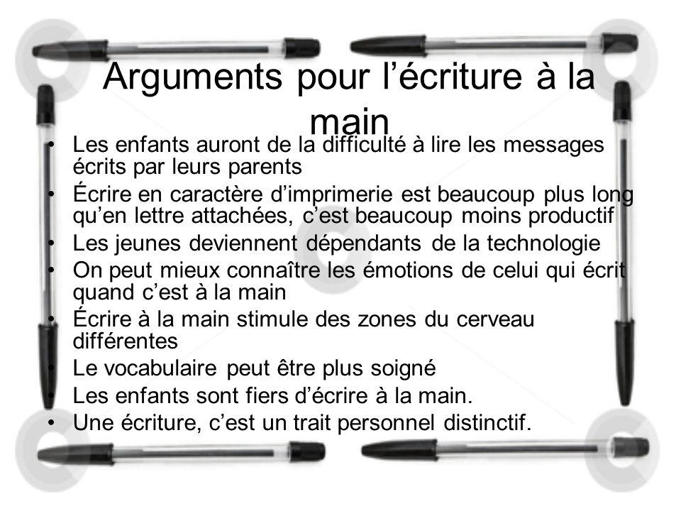 Arguments pour écrire avec Word Les gens utilisent de plus en plus la technologie et de moins en moins l'écriture à la main.