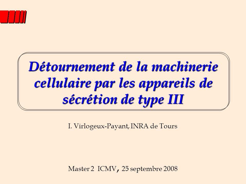 Détournement de la machinerie cellulaire par les appareils de sécrétion de type III Master 2 ICMV, 25 septembre 2008 I. Virlogeux-Payant, INRA de Tour