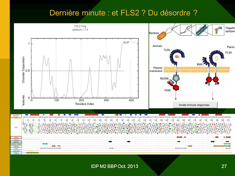 IDP M2 BBP Oct. 2013 27 Dernière minute : et FLS2 ? Du désordre ?