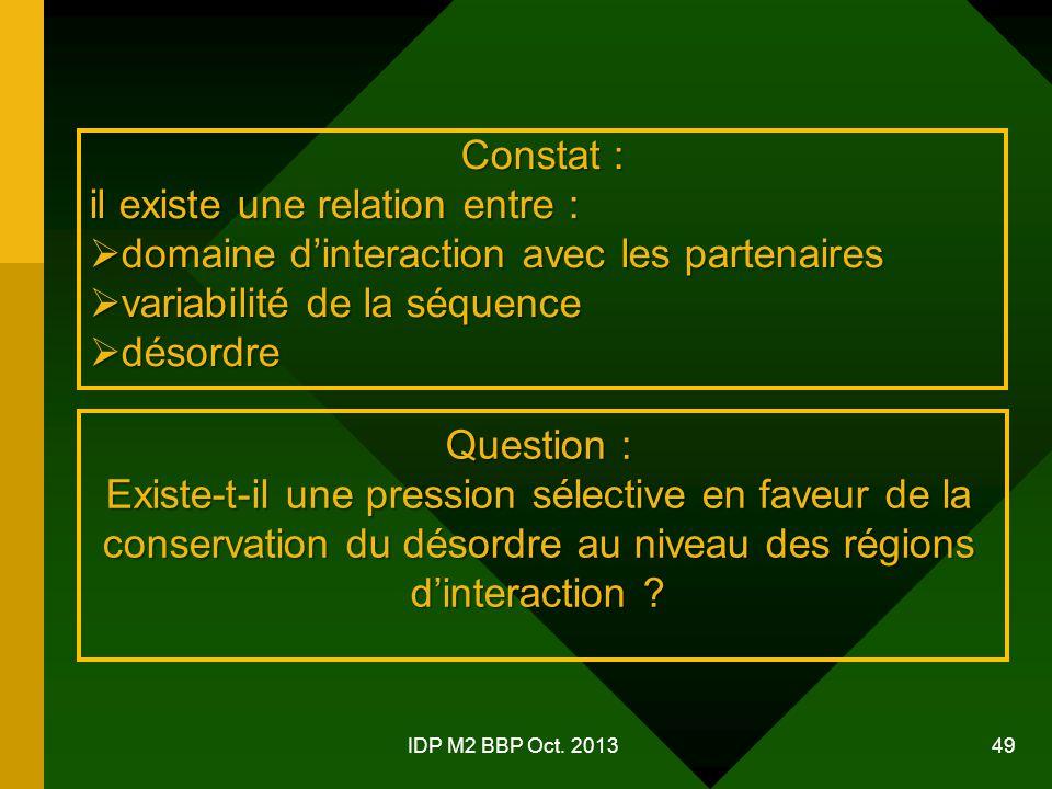 Constat : il existe une relation entre :  domaine d'interaction avec les partenaires  variabilité de la séquence  désordre Question : Existe-t-il une pression sélective en faveur de la conservation du désordre au niveau des régions d'interaction .