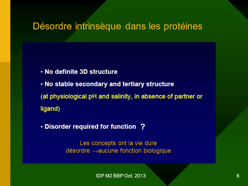 6 Désordre intrinsèque dans les protéines Les concepts ont la vie dure désordre  aucune fonction biologique ?