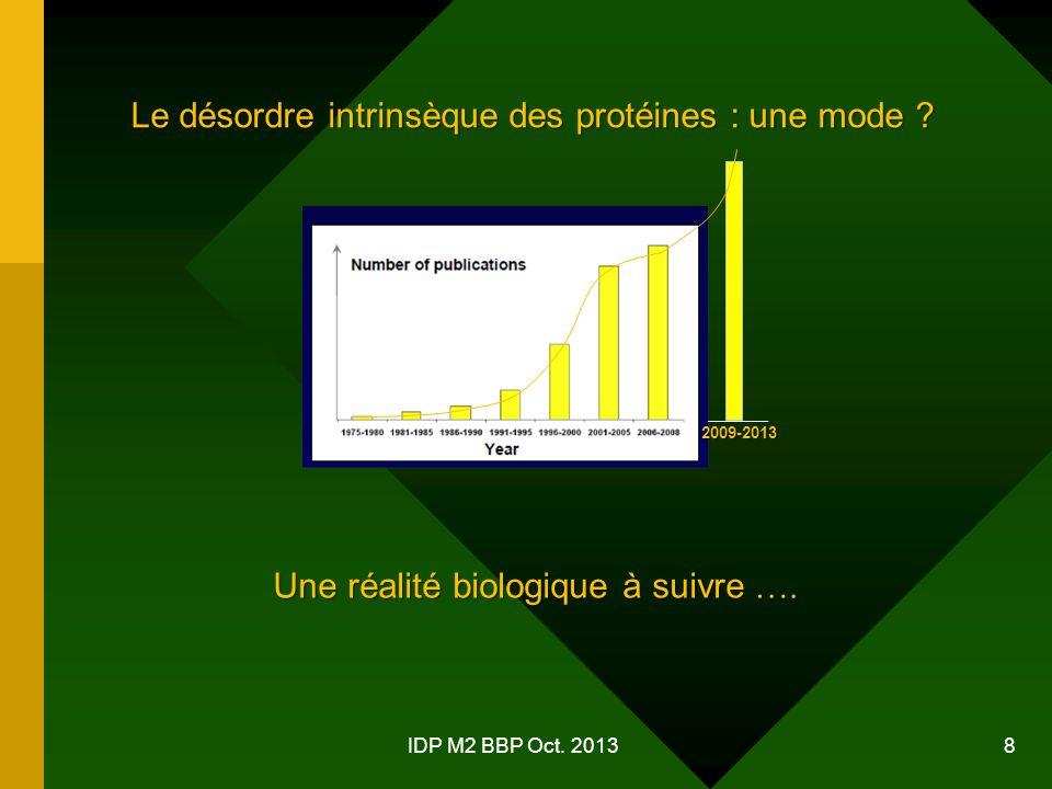 IDP M2 BBP Oct.2013 8 Le désordre intrinsèque des protéines : une mode .
