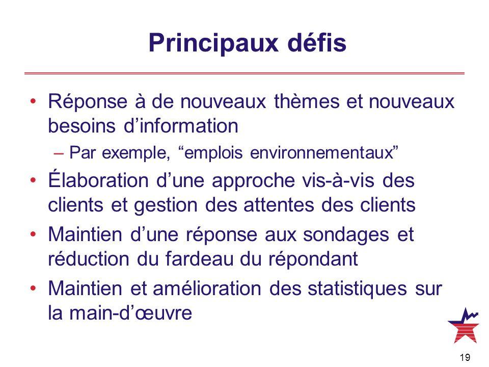 """19 Principaux défis Réponse à de nouveaux thèmes et nouveaux besoins d'information –Par exemple, """"emplois environnementaux"""" Élaboration d'une approche"""