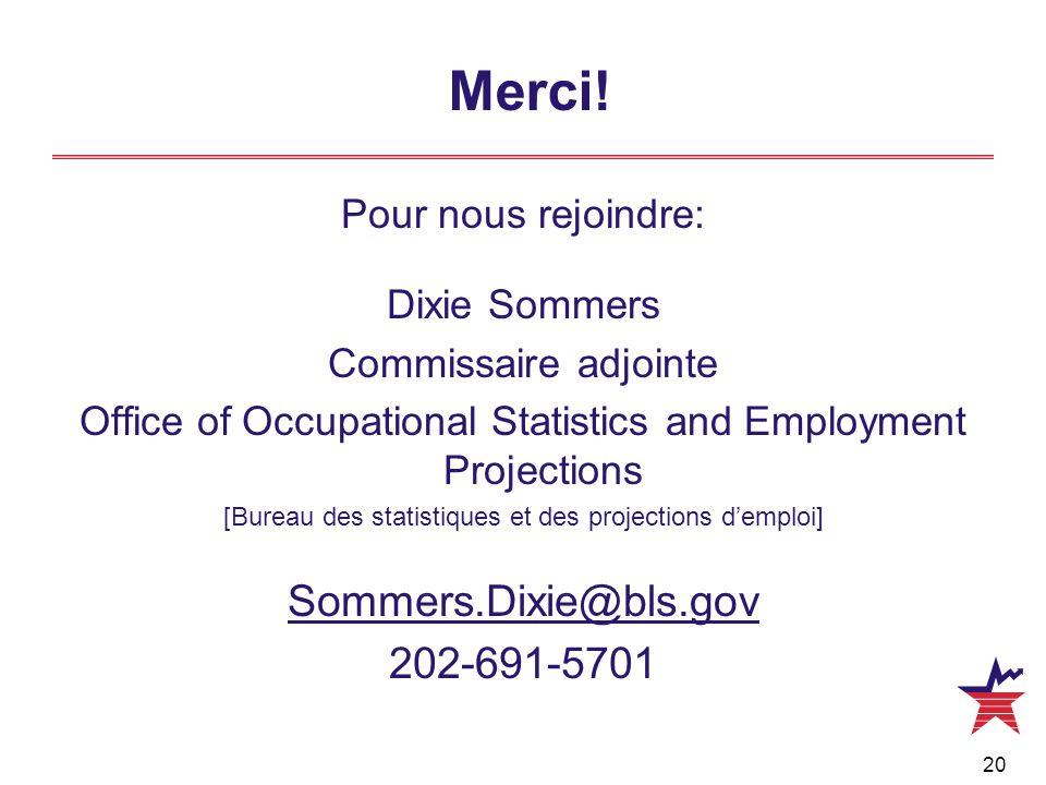 20 Merci! Pour nous rejoindre: Dixie Sommers Commissaire adjointe Office of Occupational Statistics and Employment Projections [Bureau des statistique