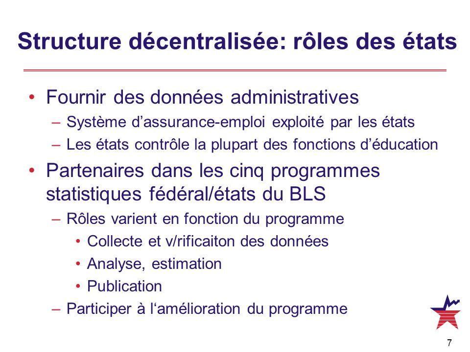 7 Structure décentralisée: rôles des états Fournir des données administratives –Système d'assurance-emploi exploité par les états –Les états contrôle