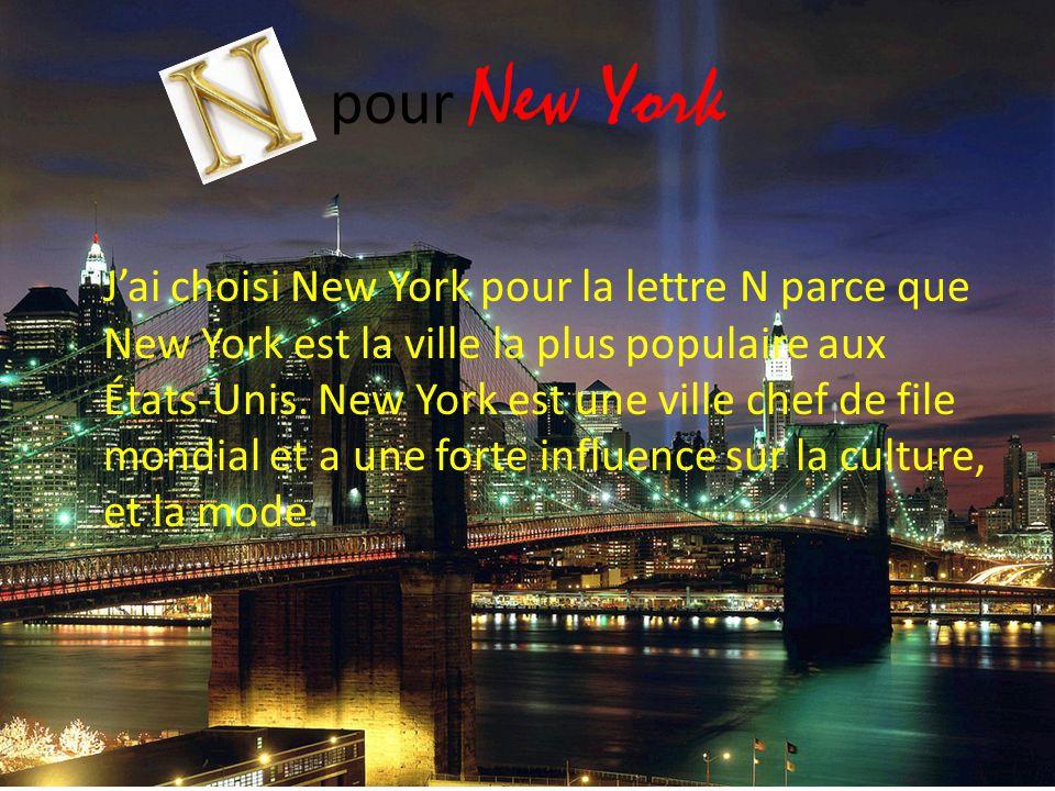 pour New York J'ai choisi New York pour la lettre N parce que New York est la ville la plus populaire aux États-Unis. New York est une ville chef de f