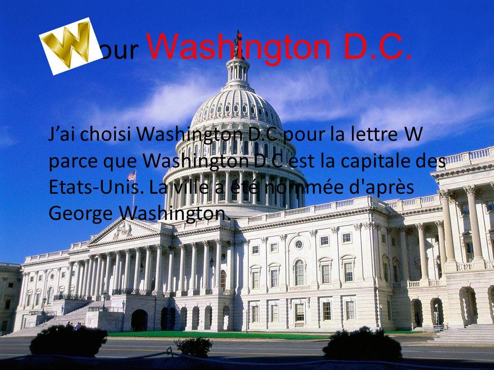 pour Washington D.C. J'ai choisi Washington D.C pour la lettre W parce que Washington D.C est la capitale des Etats-Unis. La ville a été nommée d'aprè