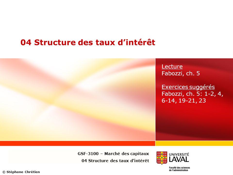 04 Structure des taux d'intérêt Lecture Fabozzi, ch. 5 Exercices suggérés Fabozzi, ch. 5: 1-2, 4, 6-14, 19-21, 23 GSF-3100 – Marché des capitaux 04 St