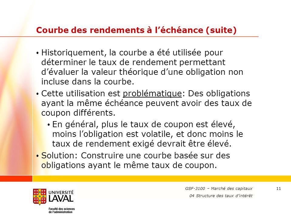 www.ulaval.ca 11 Courbe des rendements à l'échéance (suite) Historiquement, la courbe a été utilisée pour déterminer le taux de rendement permettant d