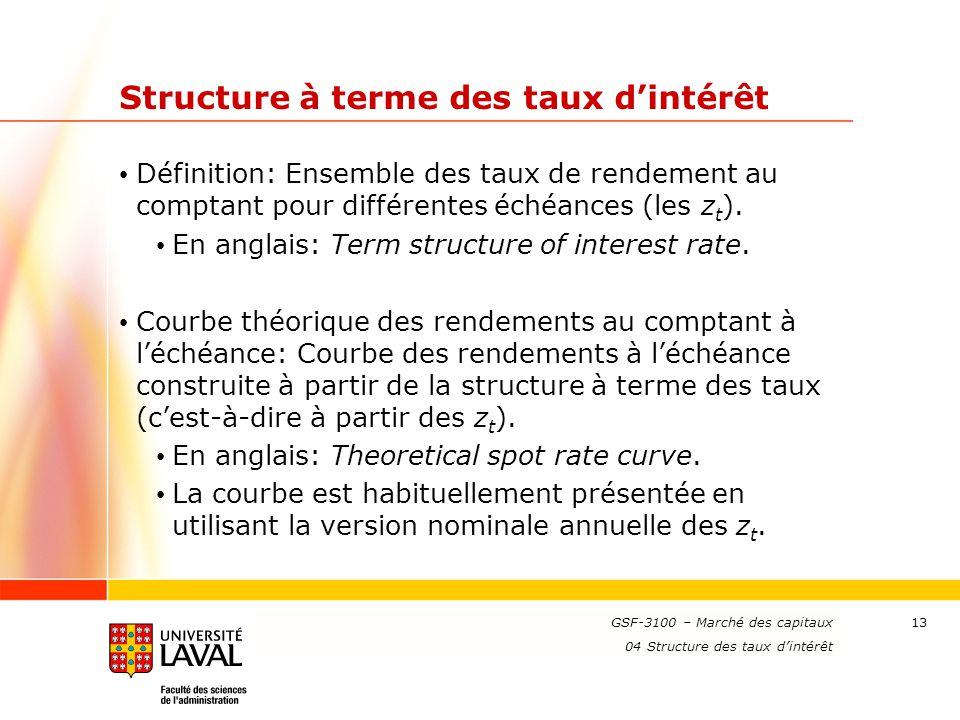 www.ulaval.ca 13 Structure à terme des taux d'intérêt Définition: Ensemble des taux de rendement au comptant pour différentes échéances (les z t ). En