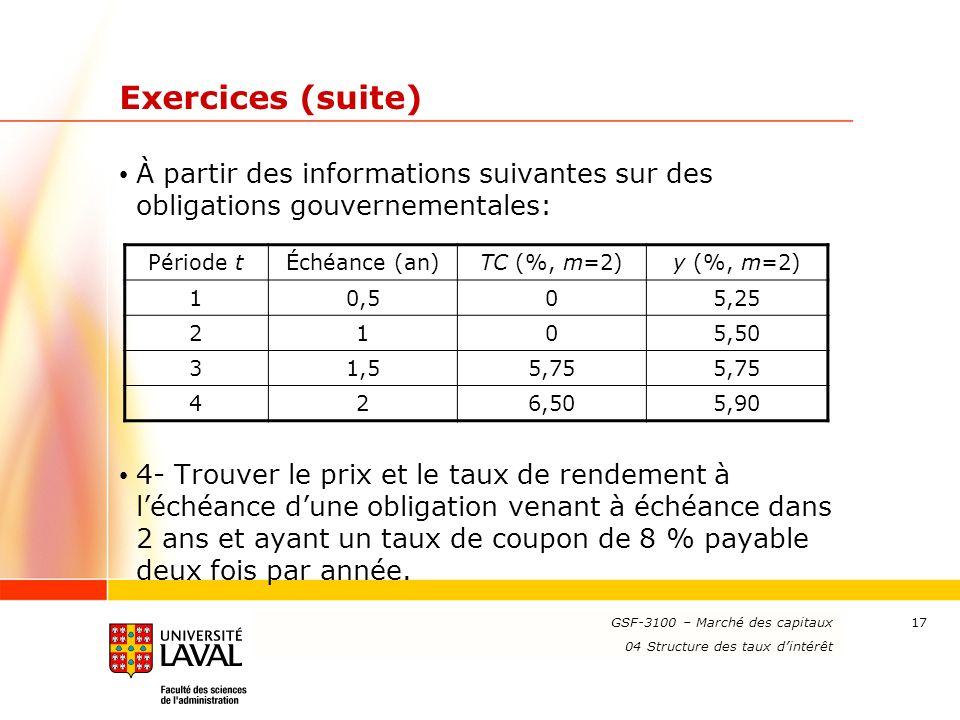 www.ulaval.ca 17 Exercices (suite) À partir des informations suivantes sur des obligations gouvernementales: 4- Trouver le prix et le taux de rendemen