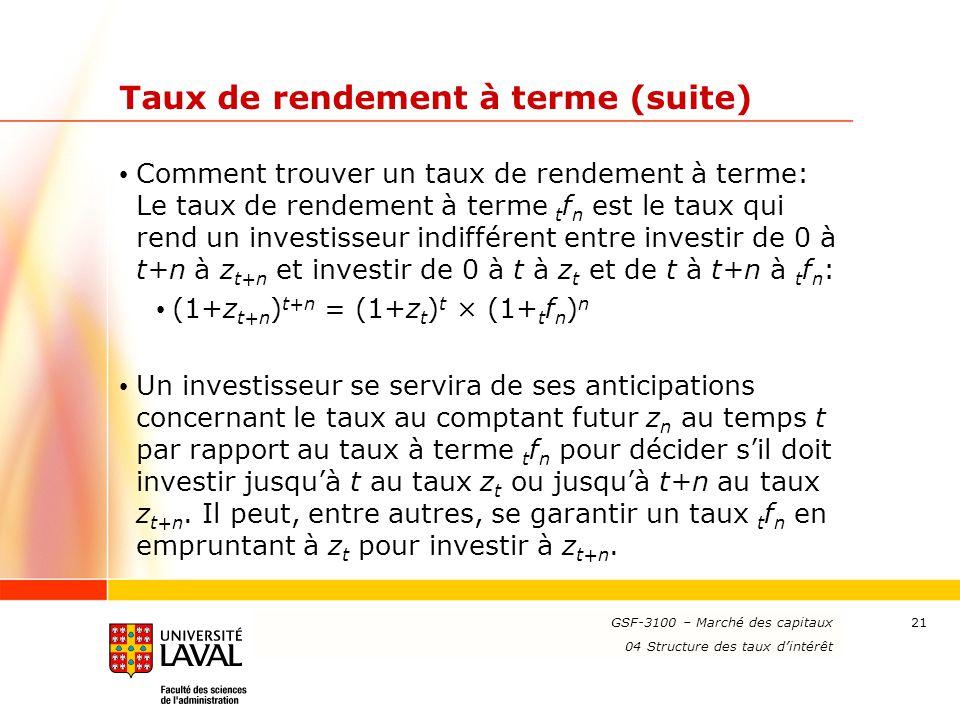 www.ulaval.ca 21 Taux de rendement à terme (suite) Comment trouver un taux de rendement à terme: Le taux de rendement à terme t f n est le taux qui re