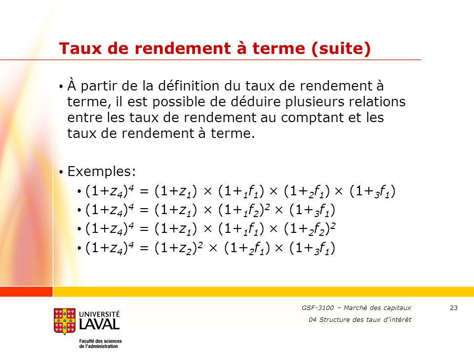 www.ulaval.ca 23 Taux de rendement à terme (suite) À partir de la définition du taux de rendement à terme, il est possible de déduire plusieurs relati