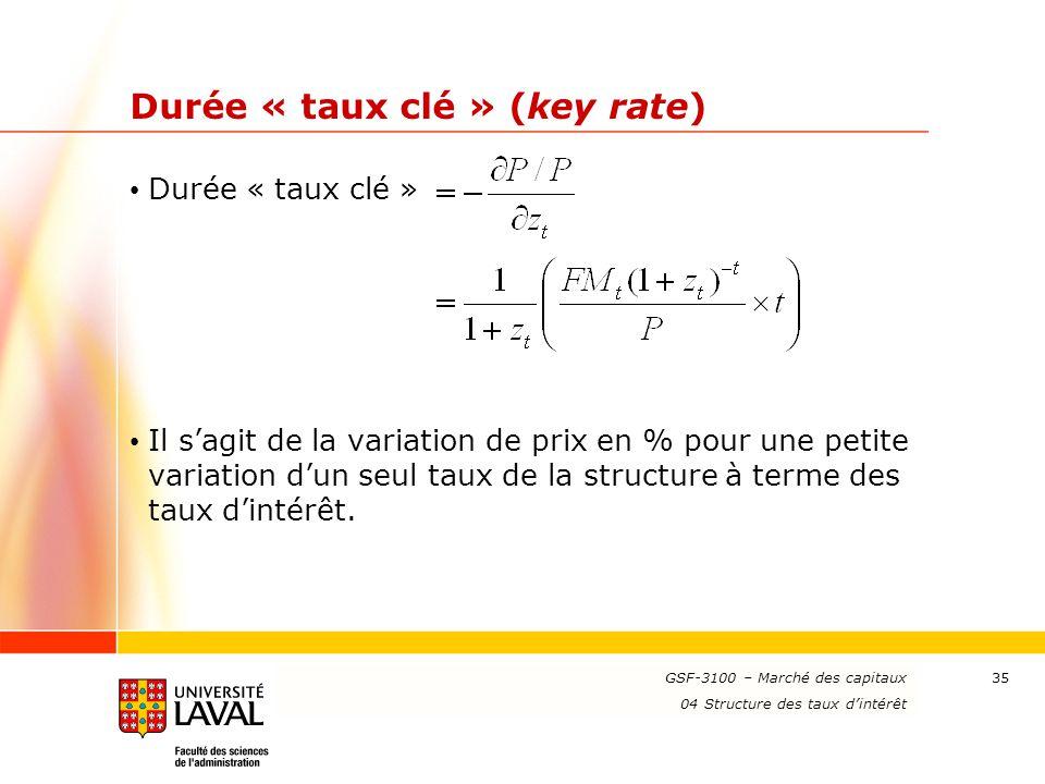 www.ulaval.ca 35 Durée « taux clé » (key rate) Durée « taux clé » Il s'agit de la variation de prix en % pour une petite variation d'un seul taux de l