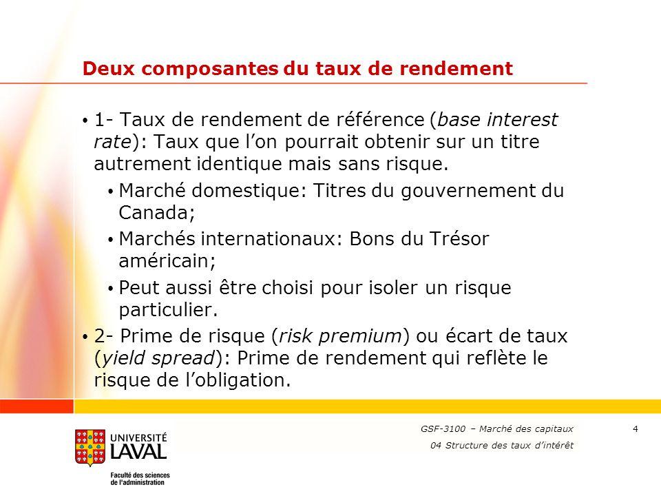 www.ulaval.ca 4 Deux composantes du taux de rendement 1- Taux de rendement de référence (base interest rate): Taux que l'on pourrait obtenir sur un ti