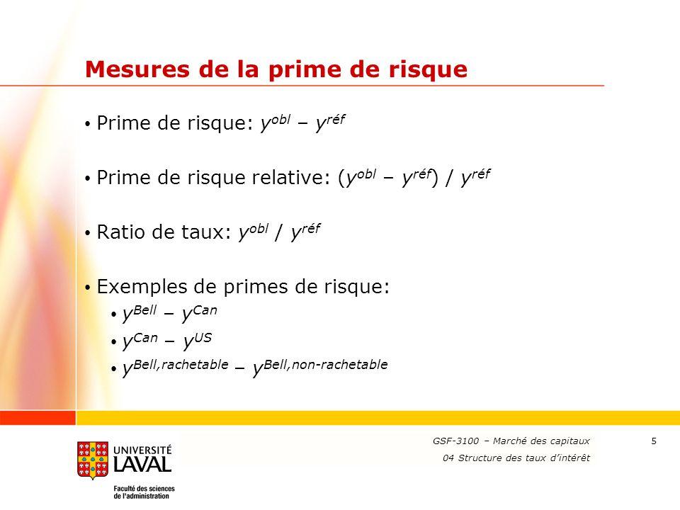 www.ulaval.ca 5 Mesures de la prime de risque Prime de risque: y obl – y réf Prime de risque relative: (y obl – y réf ) / y réf Ratio de taux: y obl /