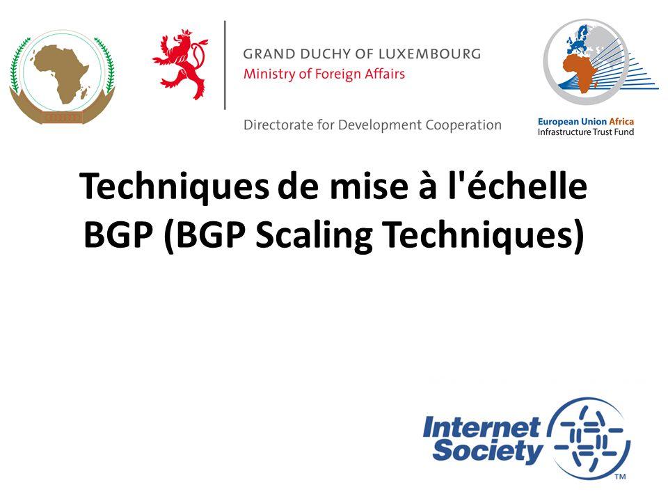 Confédérations Diviser l AS en sous-AS – eBGP entre sous-AS, mais certaines informations iBGP sont maintenues Préserver NEXT_HOP à travers les sous-AS (IGP porte cette information) Préserver LOCAL_PREF et MED Habituellement, un seul IGP Décrit dans RFC5065 32