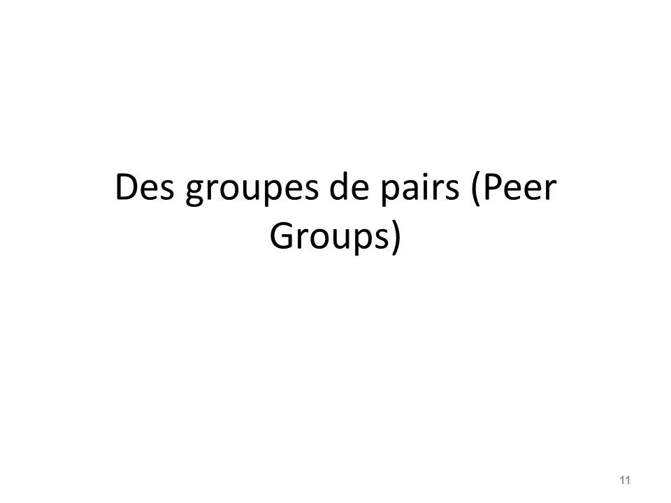 Des groupes de pairs (Peer Groups) 11