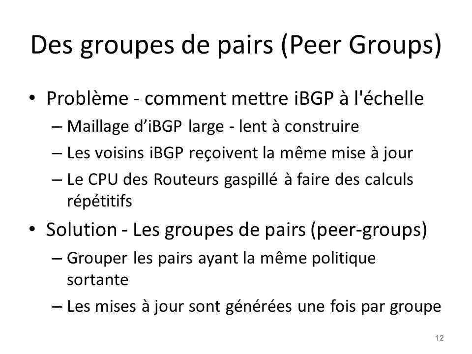 Des groupes de pairs (Peer Groups) Problème - comment mettre iBGP à l'échelle – Maillage d'iBGP large - lent à construire – Les voisins iBGP reçoivent