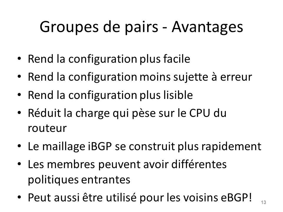 Groupes de pairs - Avantages Rend la configuration plus facile Rend la configuration moins sujette à erreur Rend la configuration plus lisible Réduit