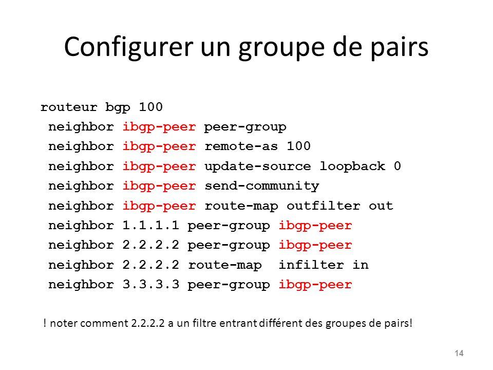 Configurer un groupe de pairs routeur bgp 100 neighbor ibgp-peer peer-group neighbor ibgp-peer remote-as 100 neighbor ibgp-peer update-source loopback