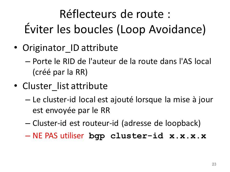 Réflecteurs de route : Éviter les boucles (Loop Avoidance) Originator_ID attribute – Porte le RID de l'auteur de la route dans l'AS local (créé par la