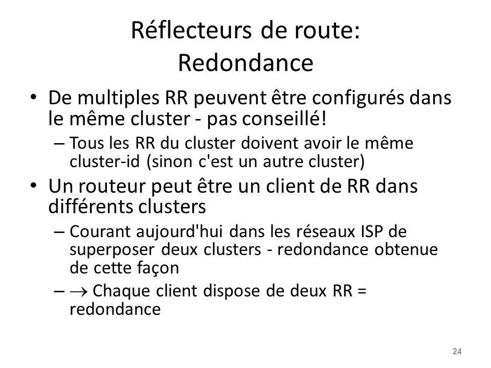 Réflecteurs de route: Redondance De multiples RR peuvent être configurés dans le même cluster - pas conseillé! – Tous les RR du cluster doivent avoir