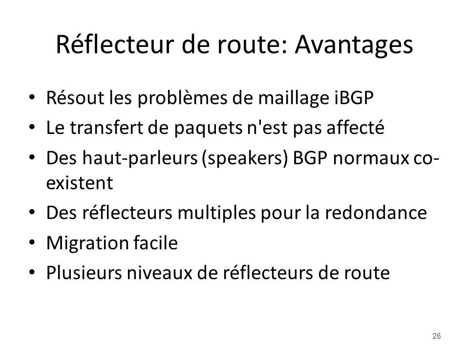Réflecteur de route: Avantages Résout les problèmes de maillage iBGP Le transfert de paquets n'est pas affecté Des haut-parleurs (speakers) BGP normau