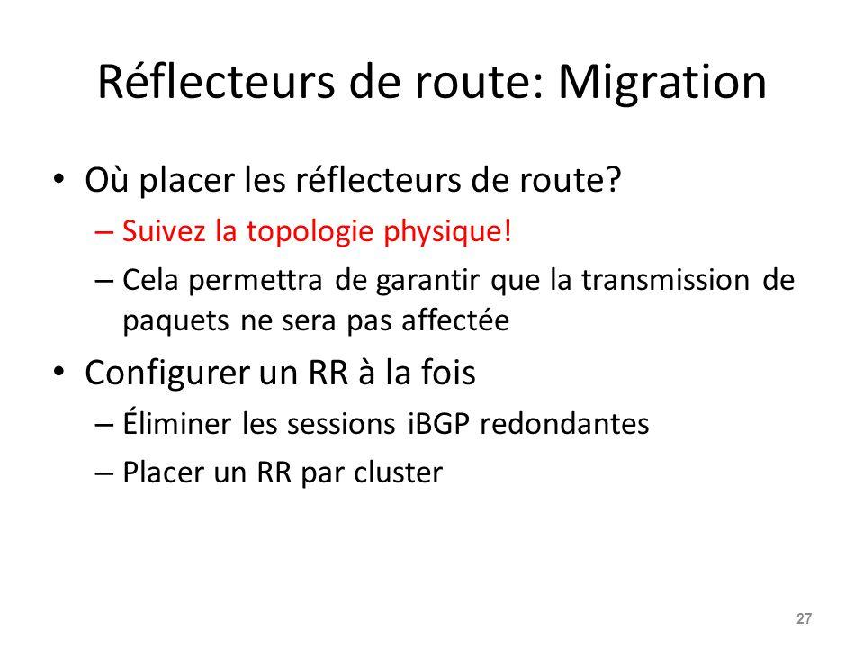 Réflecteurs de route: Migration Où placer les réflecteurs de route? – Suivez la topologie physique! – Cela permettra de garantir que la transmission d