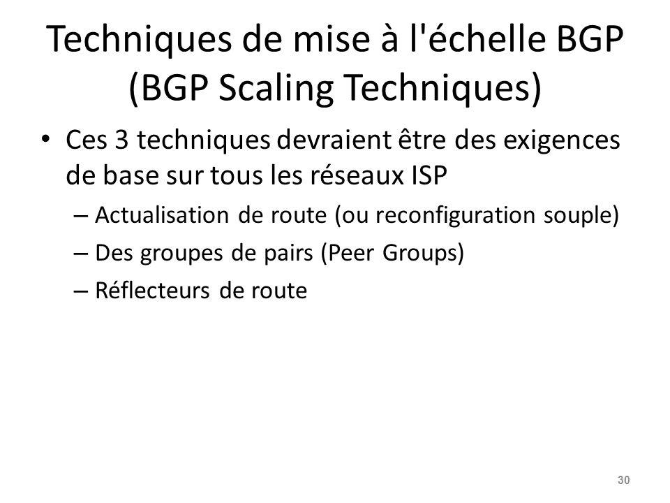 Techniques de mise à l'échelle BGP (BGP Scaling Techniques) Ces 3 techniques devraient être des exigences de base sur tous les réseaux ISP – Actualisa