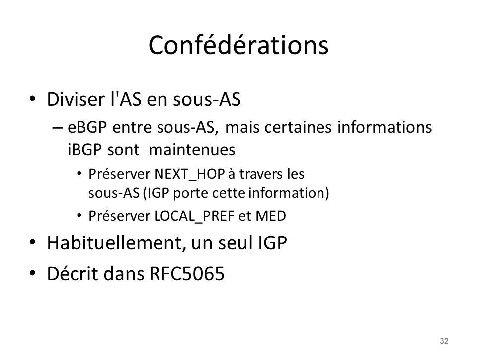 Confédérations Diviser l'AS en sous-AS – eBGP entre sous-AS, mais certaines informations iBGP sont maintenues Préserver NEXT_HOP à travers les sous-AS