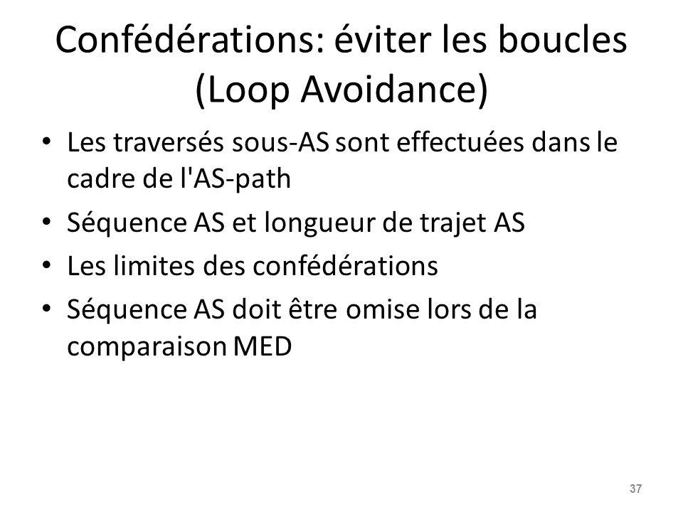 Confédérations: éviter les boucles (Loop Avoidance) Les traversés sous-AS sont effectuées dans le cadre de l'AS-path Séquence AS et longueur de trajet