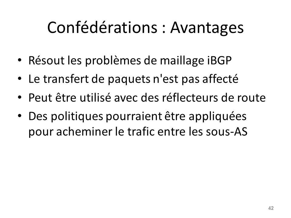 Confédérations : Avantages Résout les problèmes de maillage iBGP Le transfert de paquets n'est pas affecté Peut être utilisé avec des réflecteurs de r