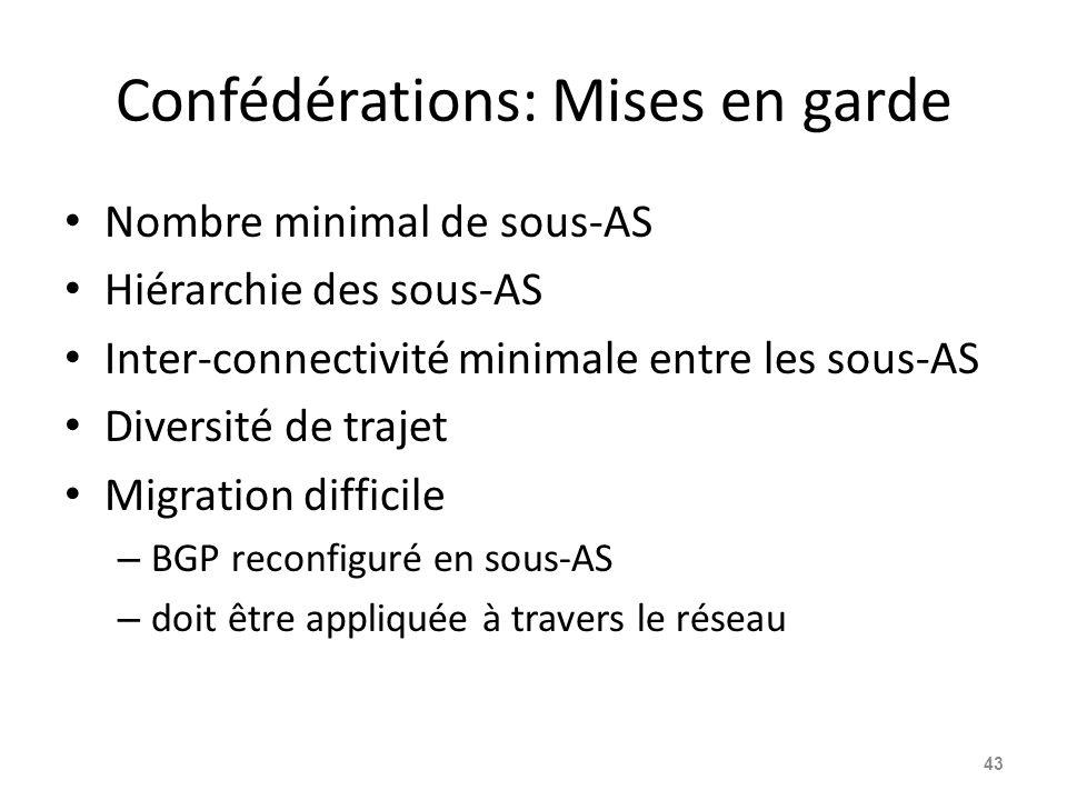 Confédérations: Mises en garde Nombre minimal de sous-AS Hiérarchie des sous-AS Inter-connectivité minimale entre les sous-AS Diversité de trajet Migr