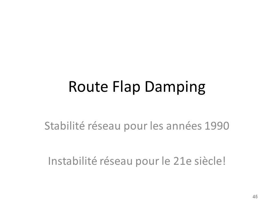 Route Flap Damping Stabilité réseau pour les années 1990 Instabilité réseau pour le 21e siècle! 45