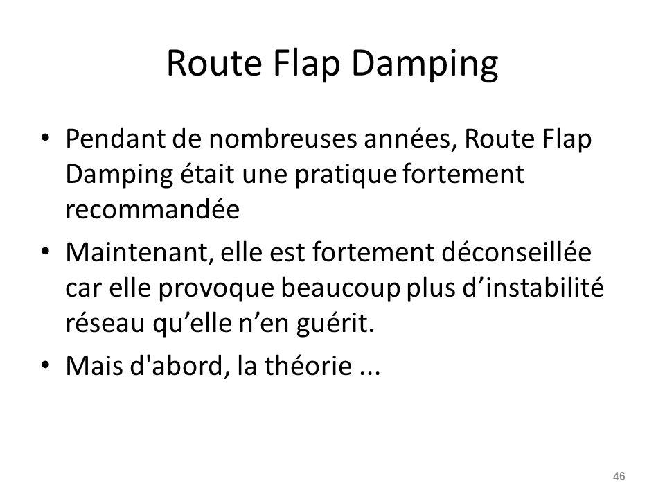 Route Flap Damping Pendant de nombreuses années, Route Flap Damping était une pratique fortement recommandée Maintenant, elle est fortement déconseill